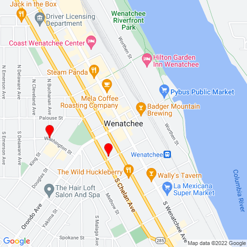 Map of Wenatchee, WA