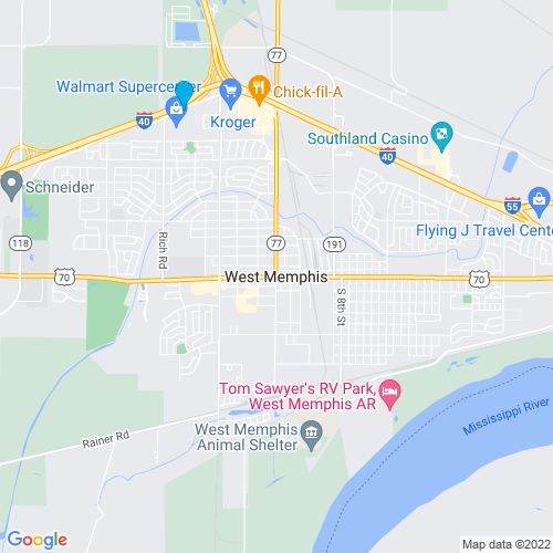 Map of West Memphis, AR
