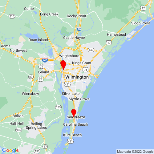 Map of Wilmington, NC