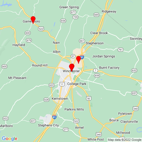 Map of Winchester, VA