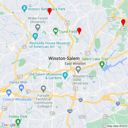 Map of Winston Salem, NC