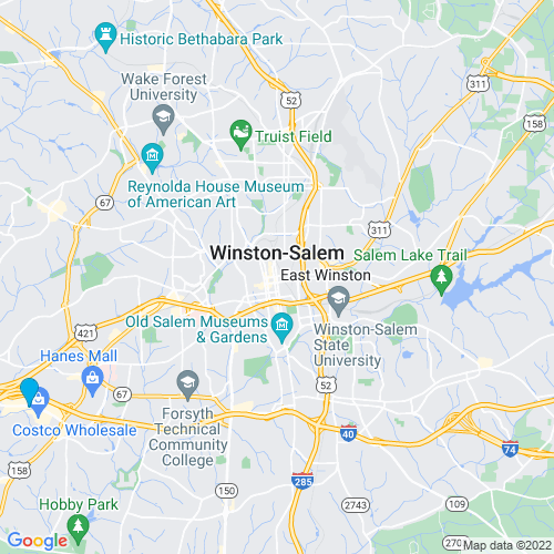 Map of Winston-salem, NC