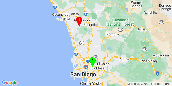 Google Map of College Area, San Diego, CA