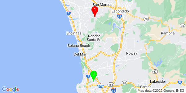 Google Map of University City, San Diego, CA