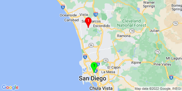 Google Map of University Heights, San Diego, CA