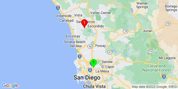 Google Map of Grantville, San Diego