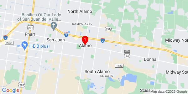Google Map of Alamo, TX