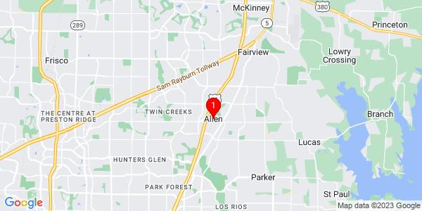 Google Map of Allen, TX