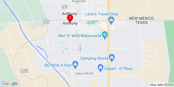 Google Map of Anthony, TX