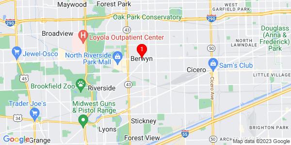 Google Map of Berwyn, IL