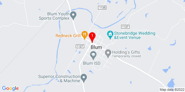 Google Map of Blum, TX