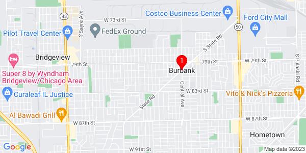 Google Map of Burbank, IL