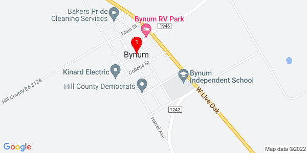 Google Map of Bynum, TX