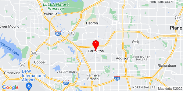 Google Map of Carrollton, TX