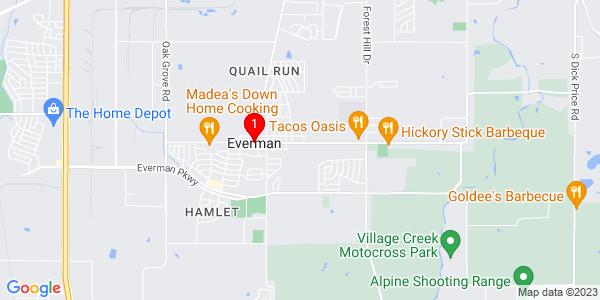 Google Map of Everman, TX