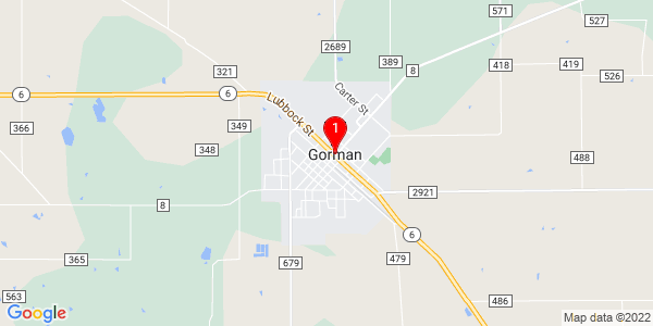 Google Map of Gorman, TX