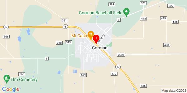 Google Map of Gorman, TX