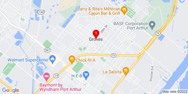 Google Map of Groves, TX