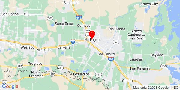 Google Map of Harlingen, TX