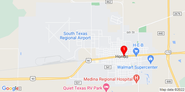 Google Map of Hondo, TX