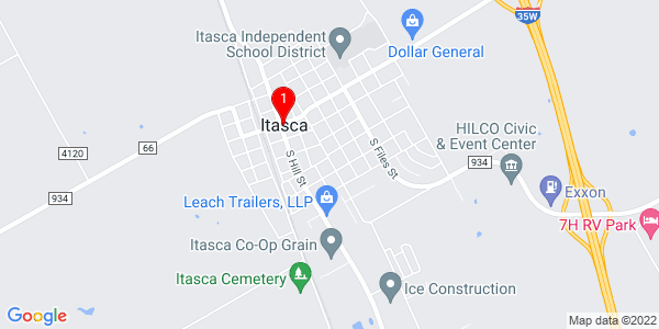 Google Map of Itasca, TX