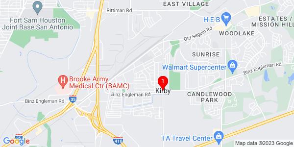 Google Map of Kirby, TX