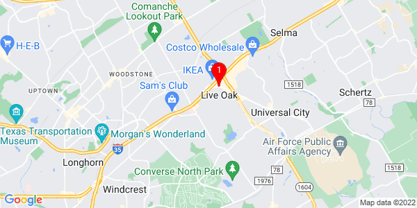 Google Map of Live Oak, TX