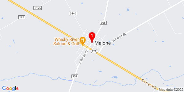 Google Map of Malone, TX