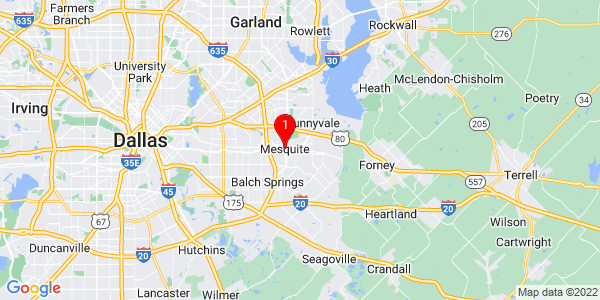 Google Map of Mesquite, TX