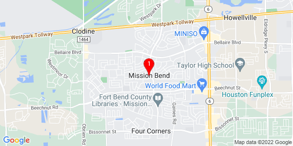 Google Map of Mission Bend, TX