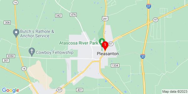 Google Map of Pleasanton, TX