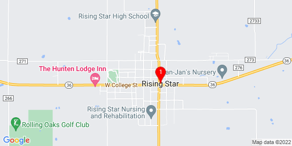 Google Map of Rising Star, TX
