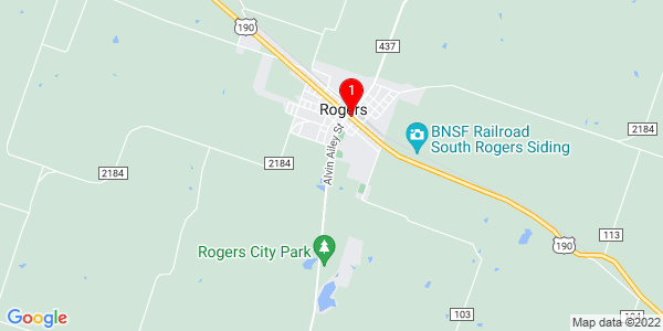 Google Map of Rogers, TX