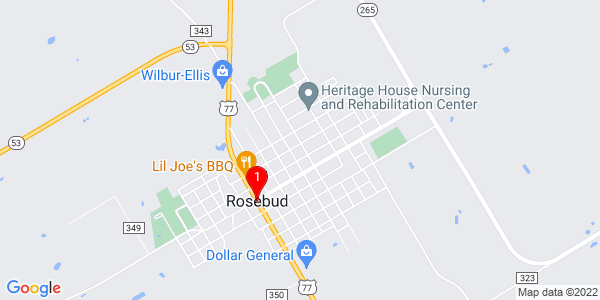 Google Map of Rosebud, TX