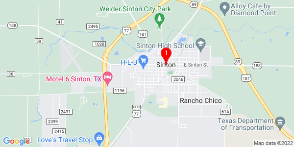 Google Map of Sinton, TX