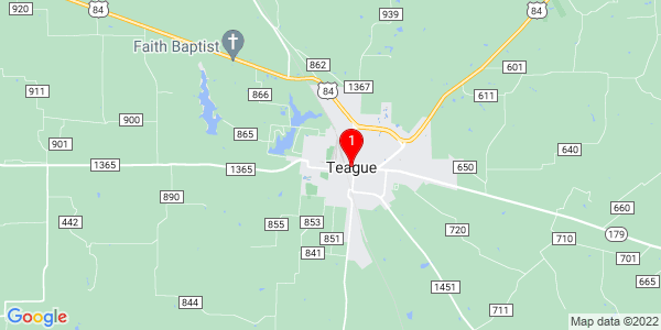 Google Map of Teague, TX