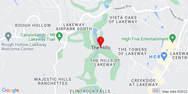 Google Map of The Hills, TX