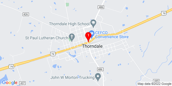 Google Map of Thorndale, TX