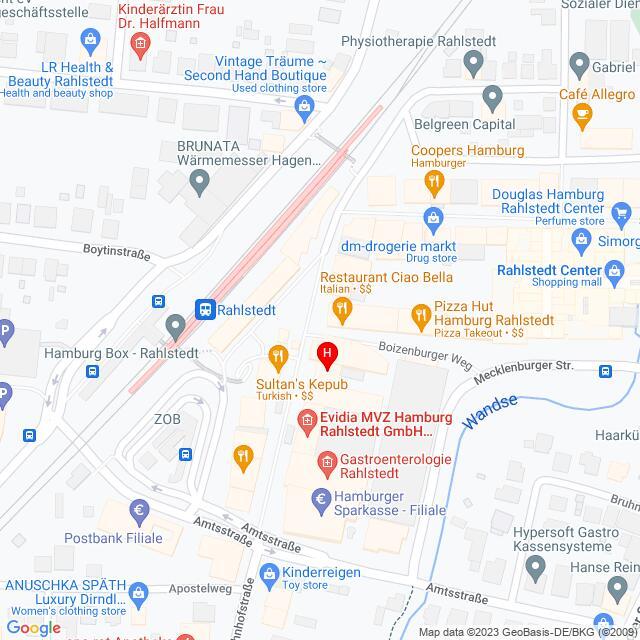 Google Map of Deutschland,Hamburg,Rahlstedter Bahnhofstrasse 19