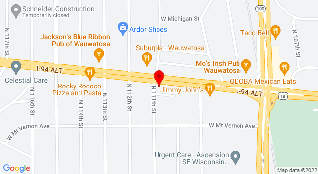 Google Map of 11063 W Bluemound Rd Wauwatosa WI