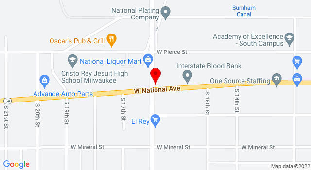 Google Map of 1578 W National Ave Milwaukee WI