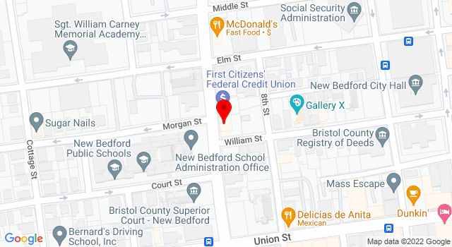 Google Map of 460 County St #2 New Bedford MA