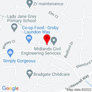 Google Map of Laundon Close, Groby         Leicester, LE6 0ED        Leicester, LE6 0ED