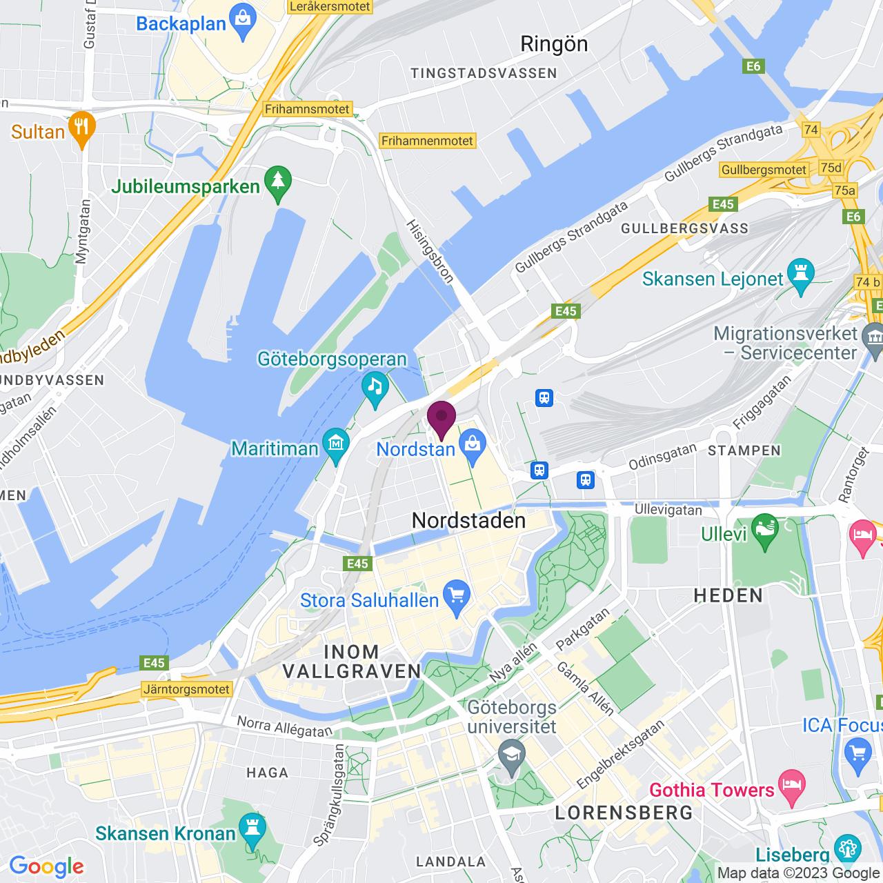 Karta över Östra Hamngatan 16