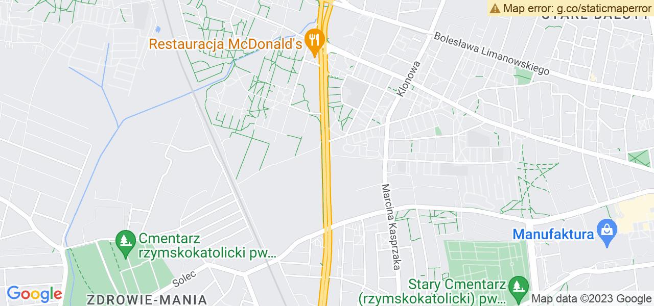 Jedna z ulic w Łodzi – Al. Włókniarzy i mapa dostępnych punktów wysyłki uszkodzonej turbiny do autoryzowanego serwisu regeneracji