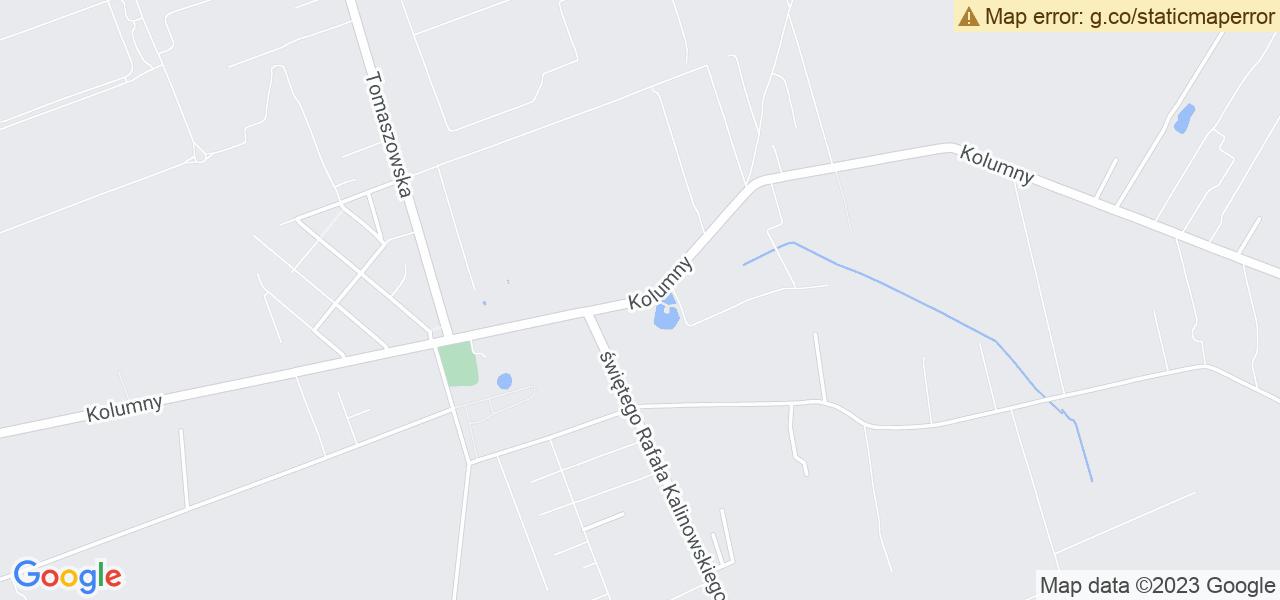 Jedna z ulic w Łodzi – Kolumny i mapa dostępnych punktów wysyłki uszkodzonej turbiny do autoryzowanego serwisu regeneracji
