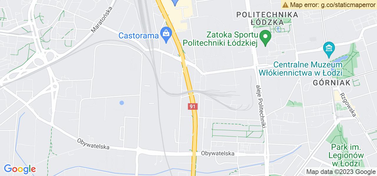 Jedna z ulic w Łodzi – al. Jana Pawła II i mapa dostępnych punktów wysyłki uszkodzonej turbiny do autoryzowanego serwisu regeneracji