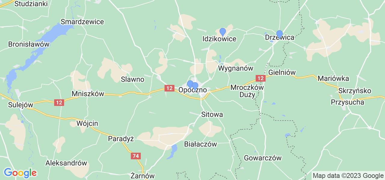 Mapka lokalizacji punktów nadania, z których mogą korzystać klienci serwisu regeneracji turbo w celu wysłania turbosprężarki – powiat opoczyński