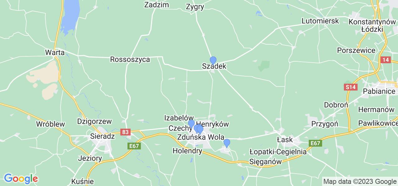Mapka lokalizacji punktów nadania, z których mogą korzystać klienci serwisu regeneracji turbo w celu wysłania turbosprężarki – powiat zduńskowolski