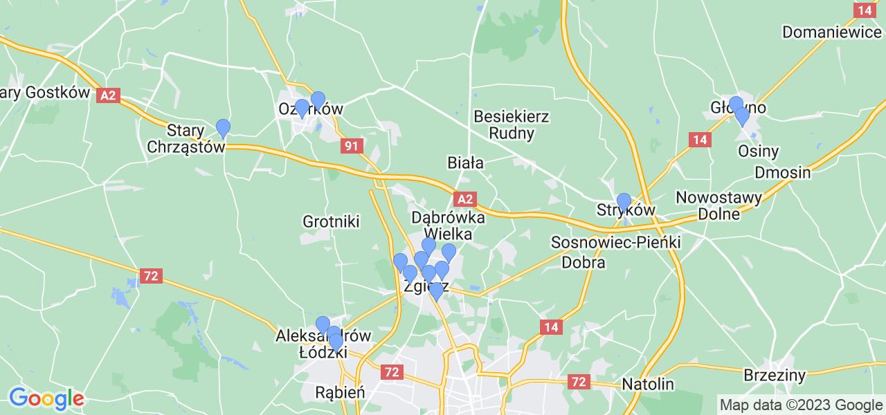 Mapka lokalizacji punktów nadania, z których mogą korzystać klienci serwisu regeneracji turbo w celu wysłania turbosprężarki – powiat zgierski